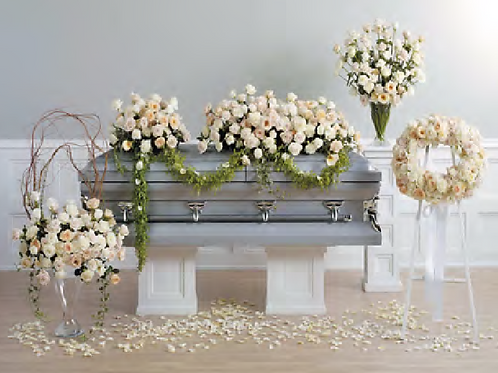 CF32-13-Ivory and White Rose Wreath