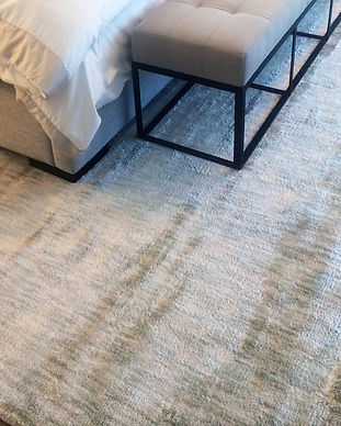 Another Way Home's Space Dye Broadloom area rug.   Bamboo Silk in shades of ivory and pale sage.