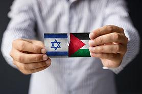 Israel vs Palestine. Close-up of man hol