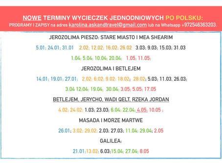 Jedziesz do Izraela - zobacz terminy na wycieczki po polsku