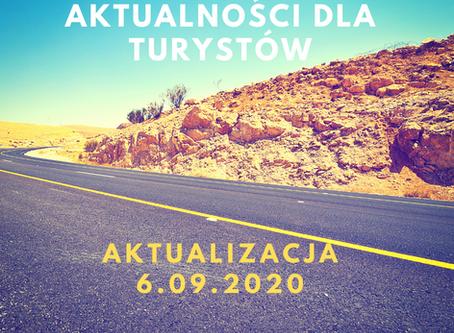 Aktualności dla turystów i biur podróży  - update 6.09.2020
