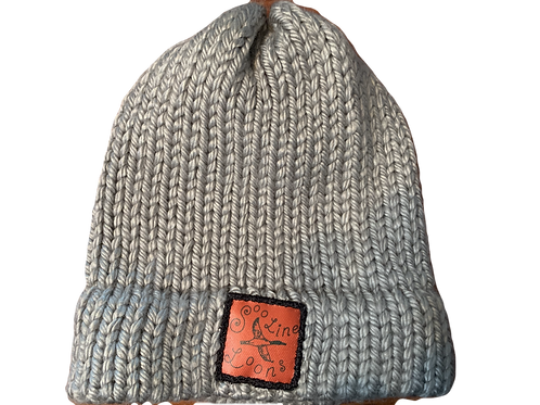 Silver Hand Knit Winter Hat