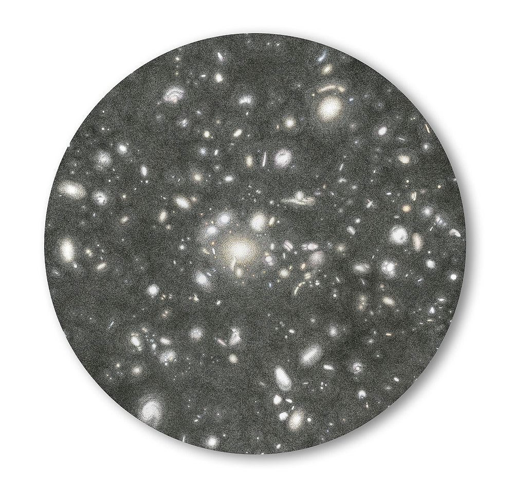 "Mia Rosenthal, 'Gravitational Lens', 2016,ink on paper mounted to panel, 24"" diameter circle"