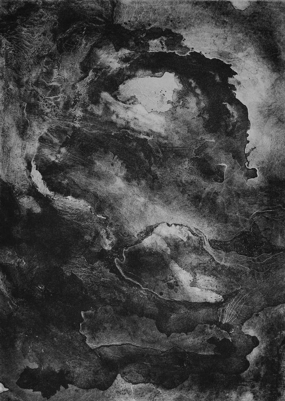 "Madaline Gardner, 'Reverberate', 2016, lithograph, black ink on paper 19"" x 13"""
