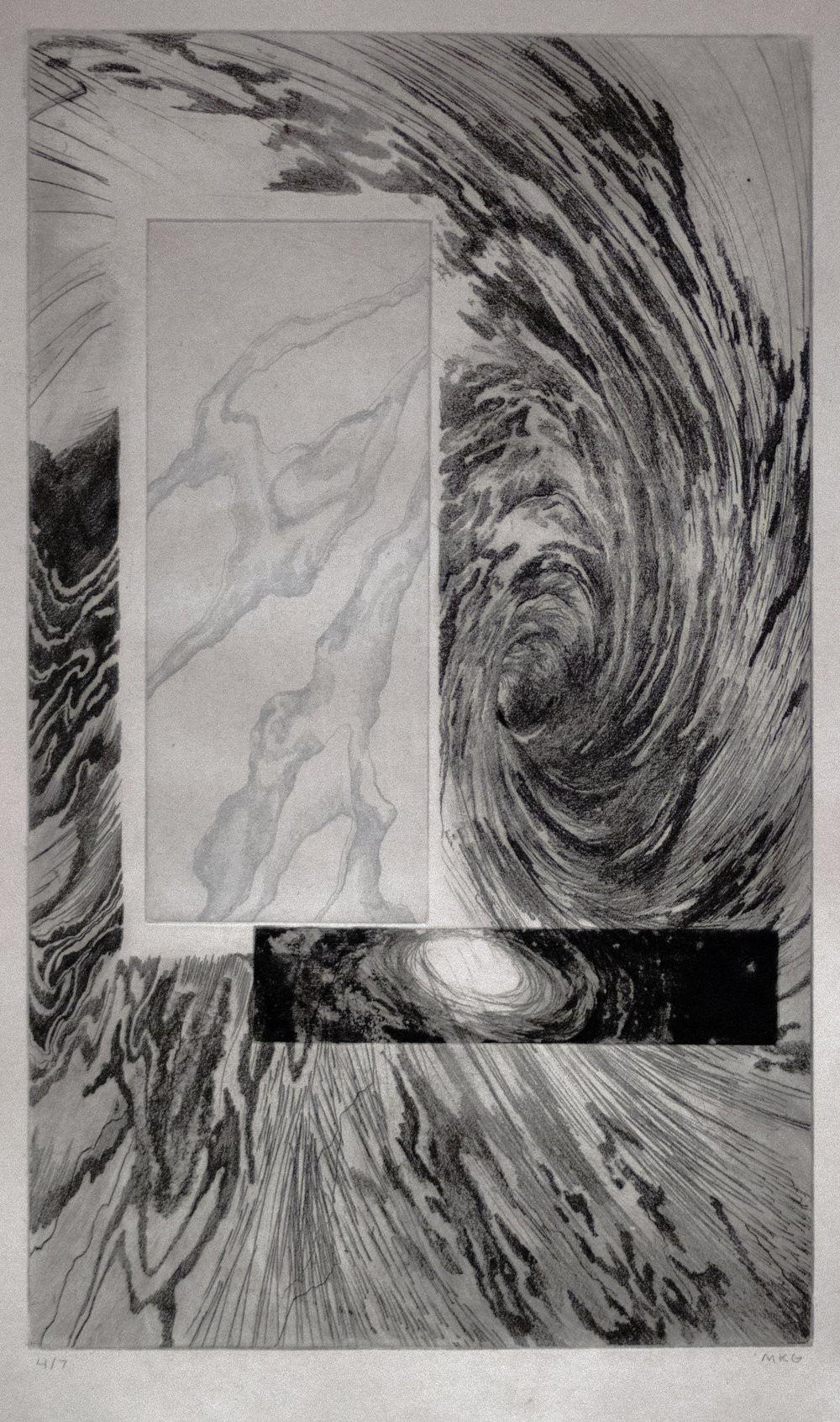 "Madaline Gardner, 'Echo', 2016, intaglio print, black and silver ink on grey paper 22"" x 14"""