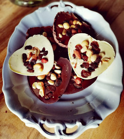 Chocolade harten met noten