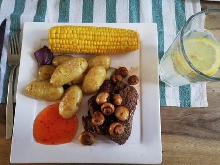 Mais en krieltjes uit de oven met een Biefstukje champignons