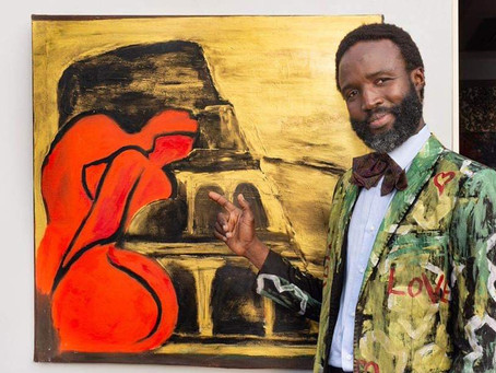 Painter creates sustainable fashion with his artwork.