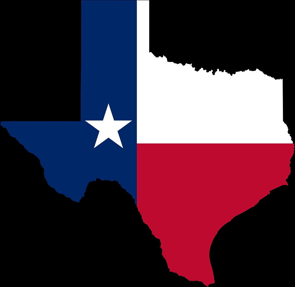 The state of Texas outline colored the same as the Texas flag.