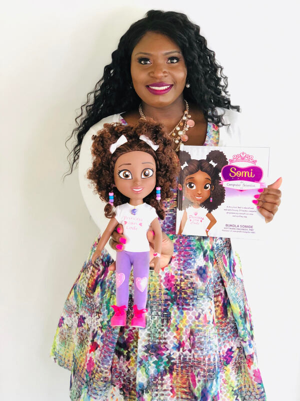 Picture of Bukola Somide. Inventor of the worlds first computer science doll.