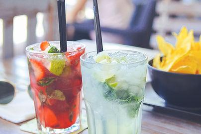 fresh Muddeled strawberry Margarita and fresh lime Margarita