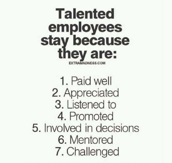Talents employees stay because they are:| Why Talented Employees Stay