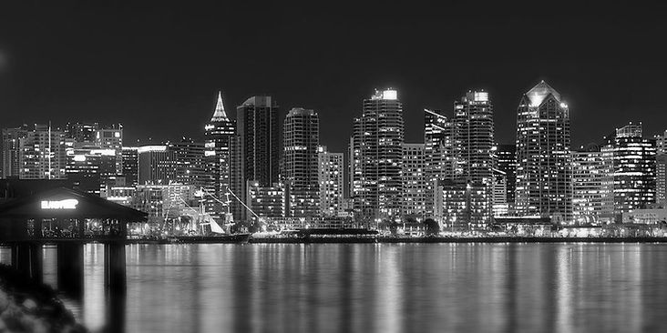 San Diego skyline-commercial buildings-downtown-construction-city lights