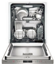 Stainess steel dishwasher with open door showing dishes inside it.