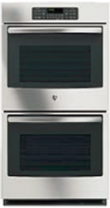 A stainless steel double oven
