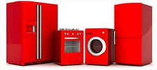 Images of 4 red household appliances, an upright freezer,  a Refrigerator, a washer and dryer