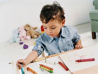 A kid focus on his work