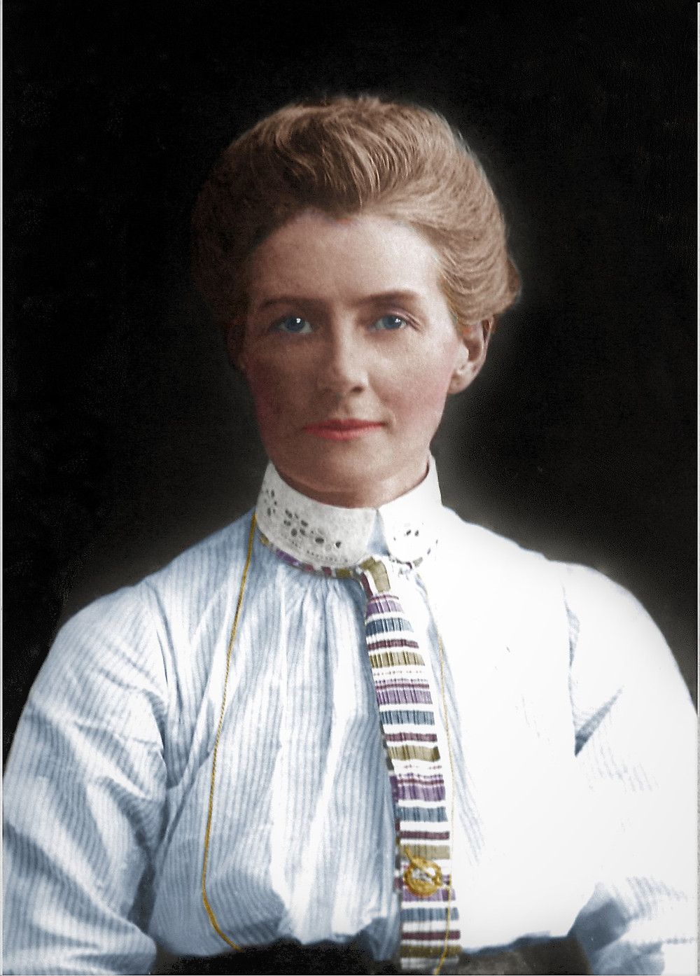 Edith Cavell - Colorization by Claudia D'Souza, the Photo Alchemist
