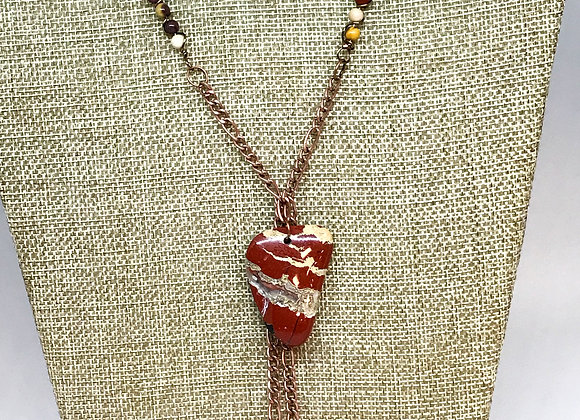 Jasper Focal Pendent Necklace with Mookite Beads