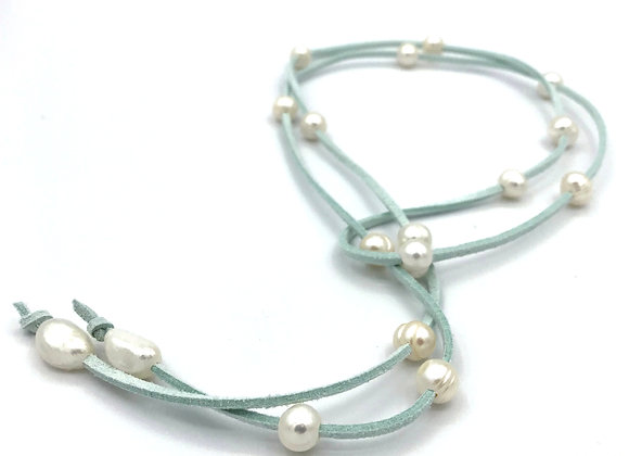 Suede and Freshwater Pearl Necklace