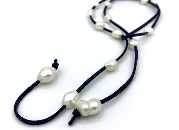Navy Suede Leather with Freshwater Pearls