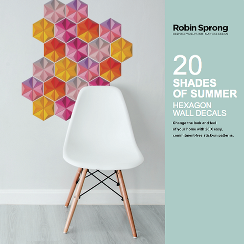 20 Shades of Summer Hexagon Wall Decals