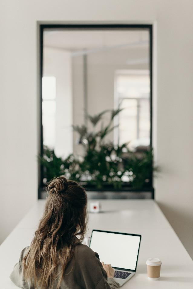 Women working online on her business