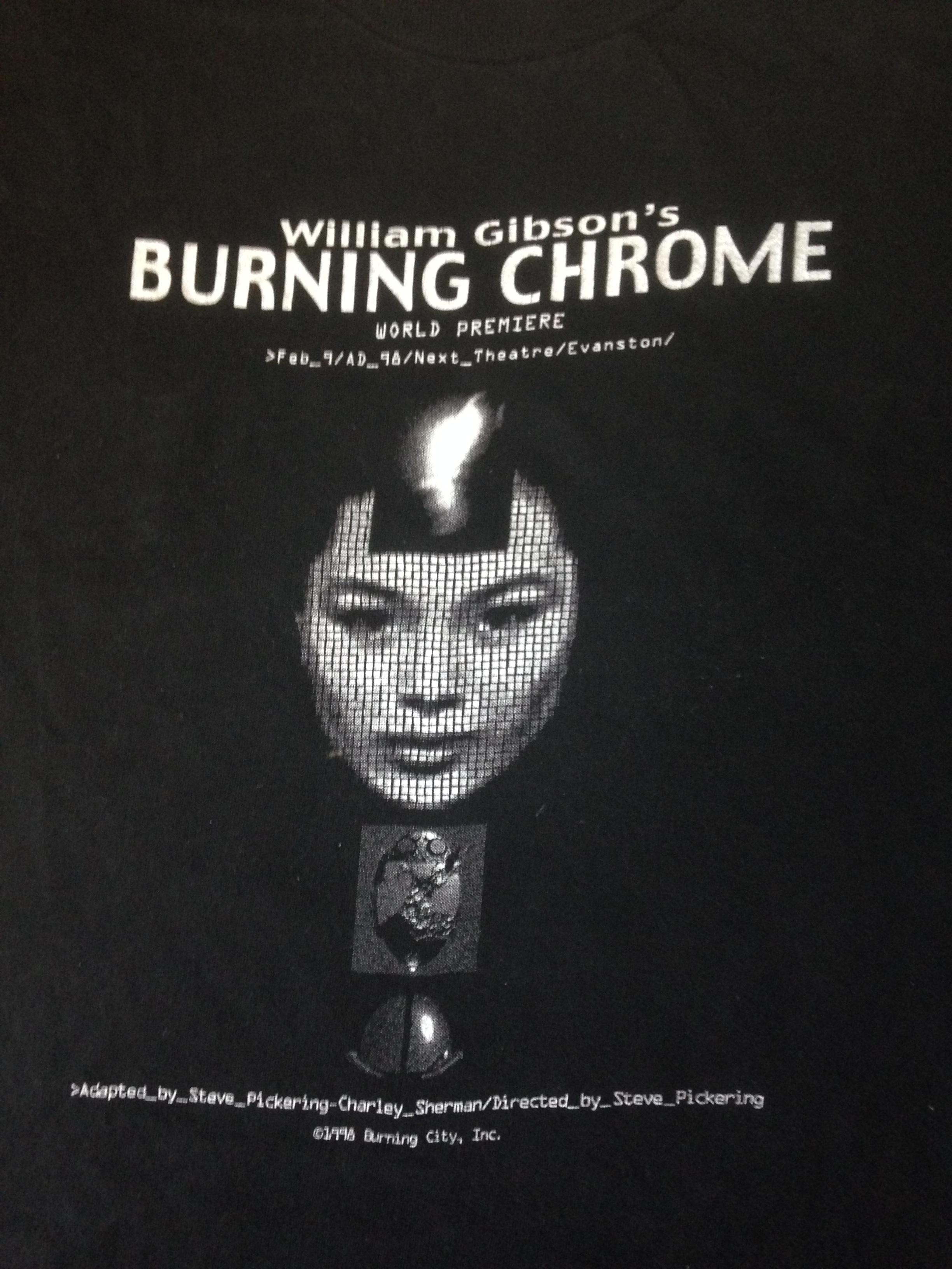 Burning Chrome t-shirt closeup