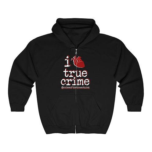 i heart true crime zip hoodie