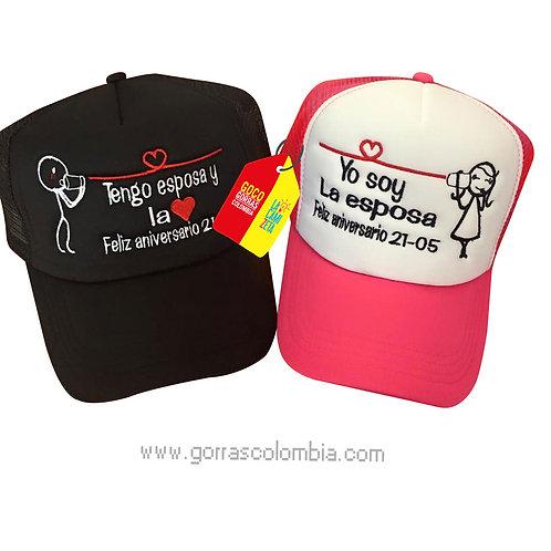 gorras negra y fucsia unicolor para pareja tengo esposa aniversario