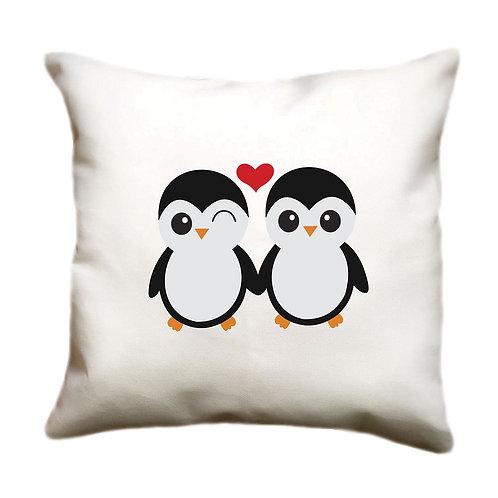 cojin blanco personalizado pinguinos