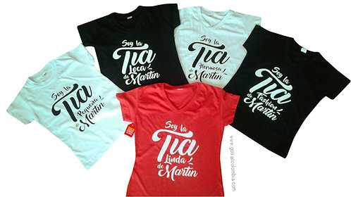 camisetas negras blancas y roja para familia de texto tias