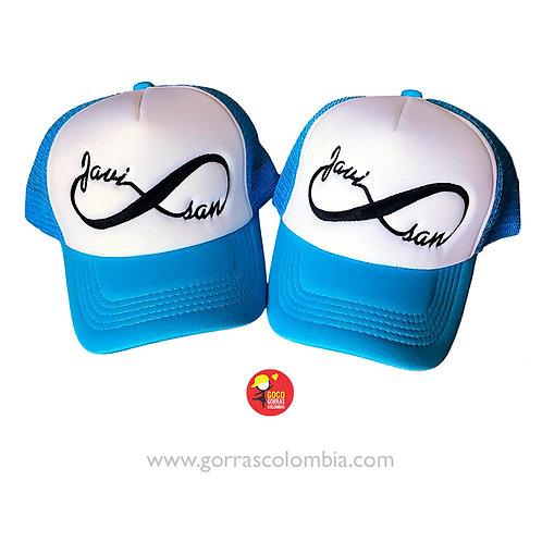 gorras azul frente blanco para pareja infinito nombres