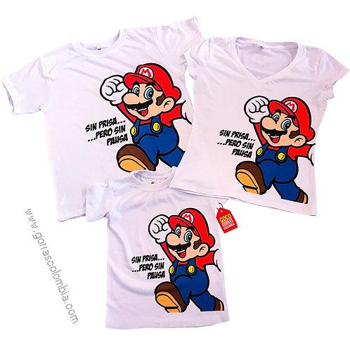 camisetas blancas para familia de super mario
