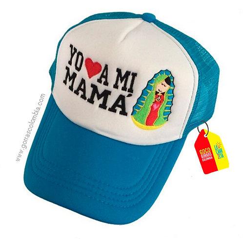 gorra azul frente blanco para niña yo amo a mi mamá