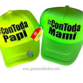 gorras verdes neon unicolor para pareja contoda