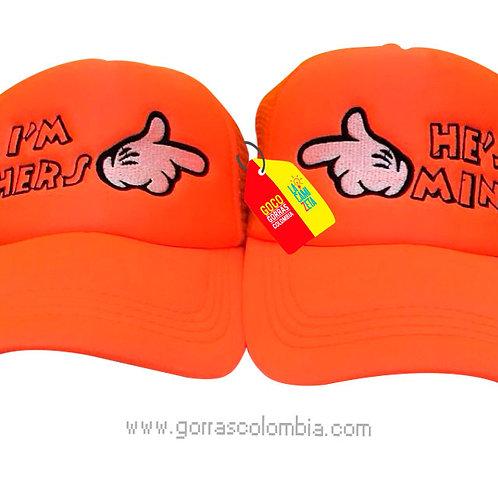 gorras naranjas unicolor para pareja hers y mine