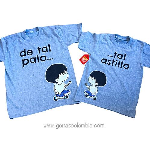 camisetas grises para familia de tal palo tal astilla