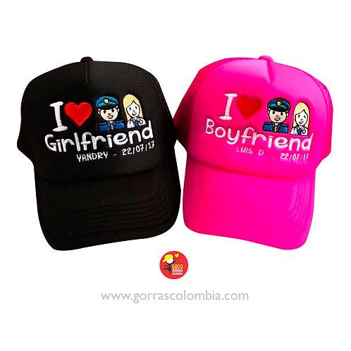 gorras negra y fucsia unicolor para pareja policia y doctora emoji