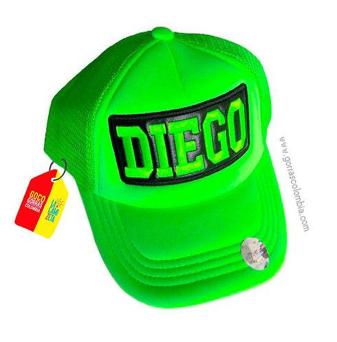 gorra verde neon unicolor para niño nombre