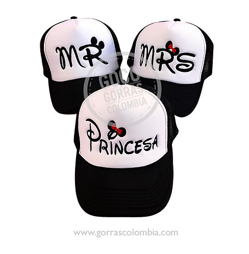 gorras negras frente blanco para familia mr, mrs y princesa