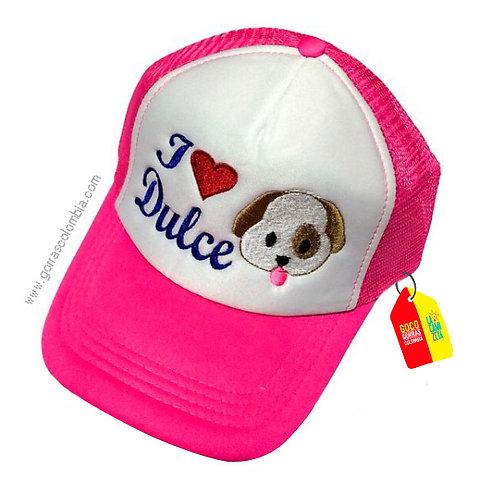 gorra fucsia frente blanco para niña i love mascota