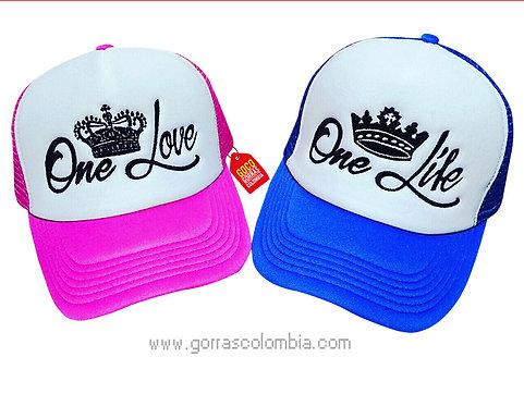 gorras azul y fucsia frente blanco para pareja one love y one life