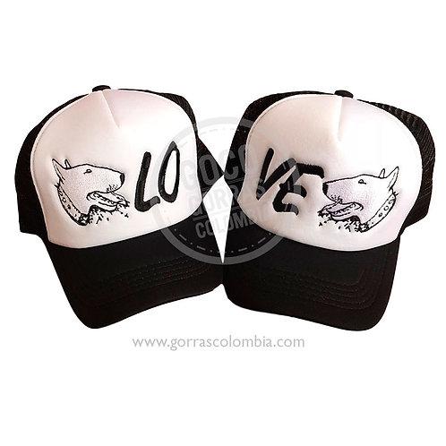 gorras negras frente blanco para pareja love mascota perro