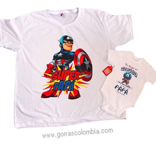camisetas blancas para familia super papá capitan america