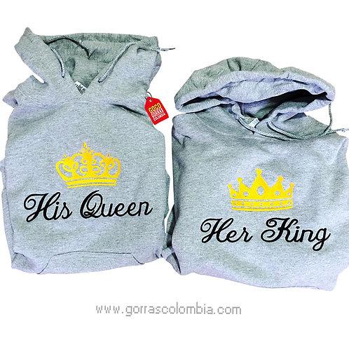 busos grises con capota para pareja his queen y her king
