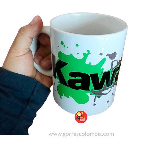 mug blanco personalizado kawasaki con manchas