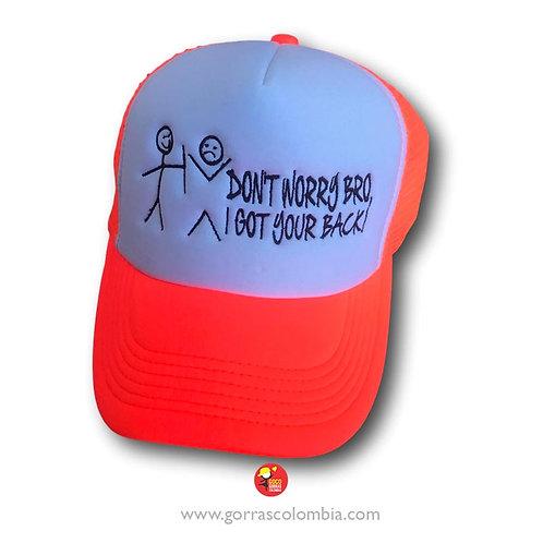 gorra naranja frente blanco personalizada don't worry