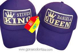gorras moradas unicolor para pareja king y queen nombres