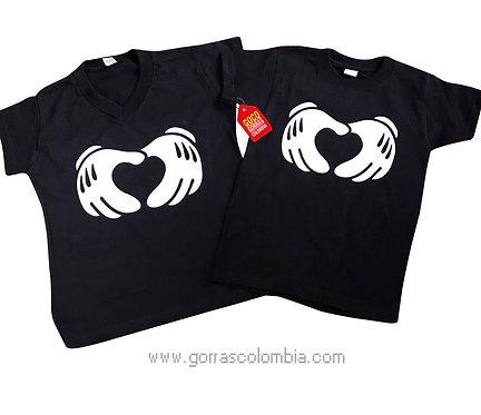 camisetas negras para pareja guantes de mickey